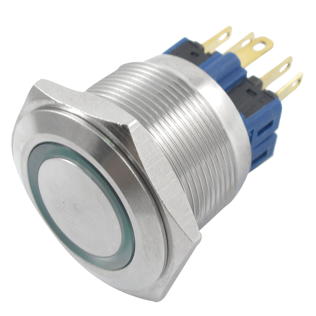 24V Green Lamp Momentary Stainless Steel 22mm Dia Push Button Switch