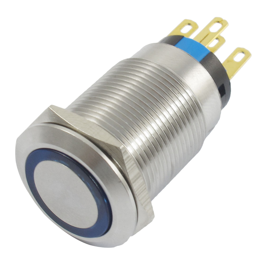 24V Blue Lamp Self-locking SPDT Contact Stainless Push Button Switch