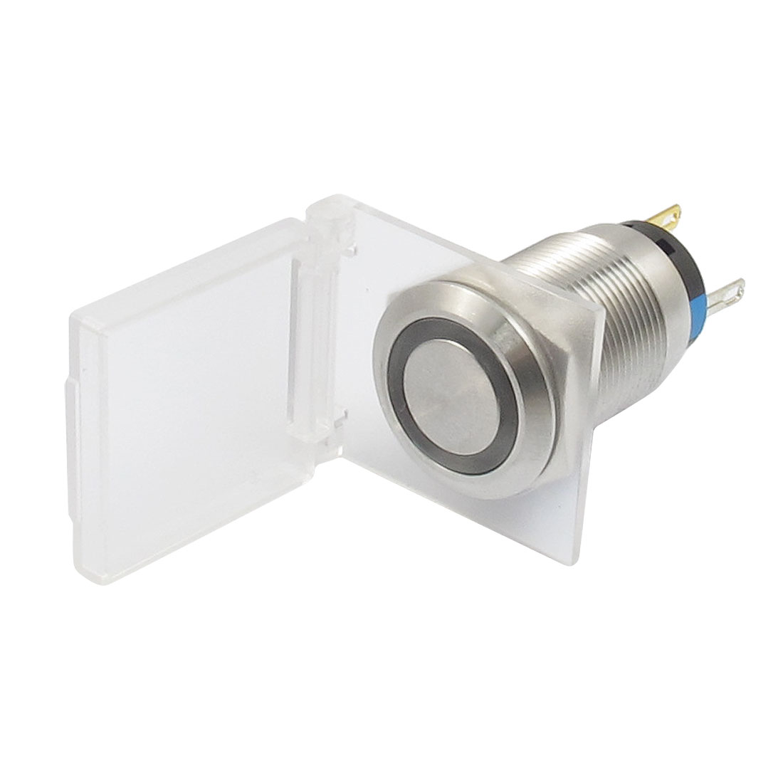 AC 250V 3A 12V White Lamp Flat Waterproof Latching Stainless Push Button Switch