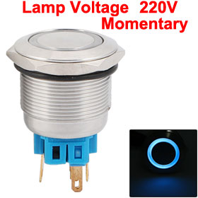 25mm Thread Blue Lamp Momentary Stainless Push Button Switch 6 Pins