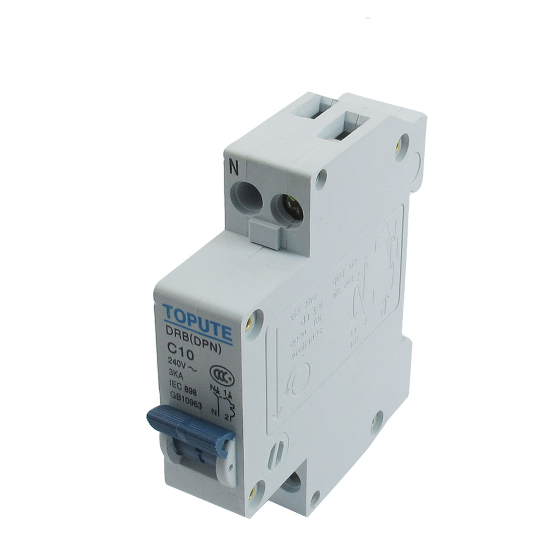 DIN Rail Mount 1P+N AC 240V 10A Overload Protection Circuit Breaker