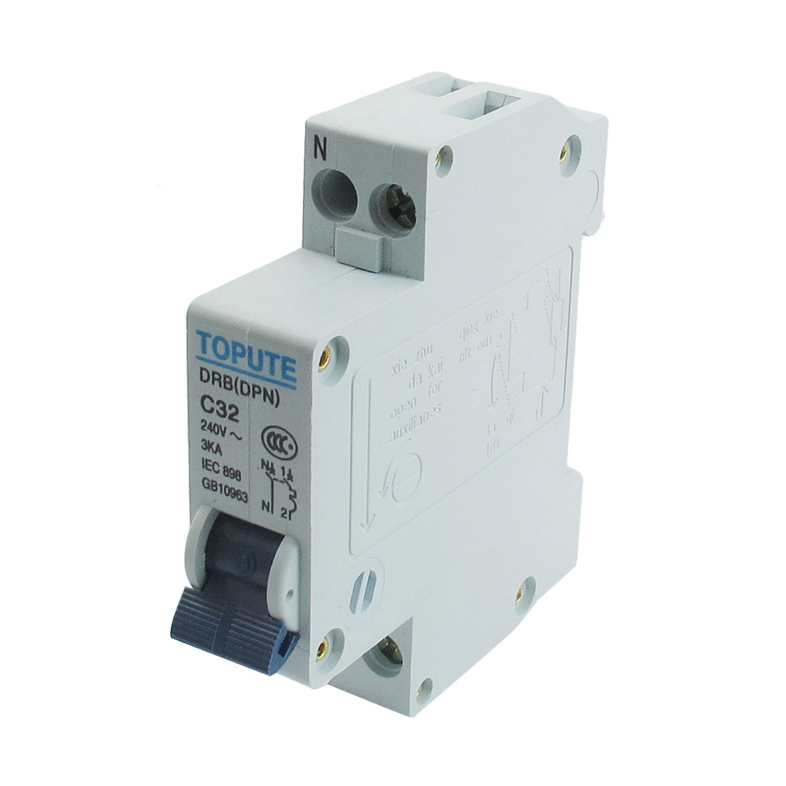DIN Rail Mount 1P+N AC 240V 32A Overload Protection Circuit Breaker