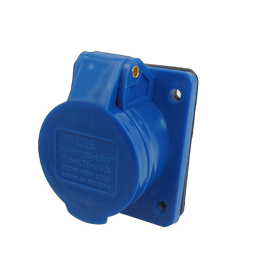 AC 220-250V 16A 2P+E IEC309-2 Panel Mount Industrial Socket Blue