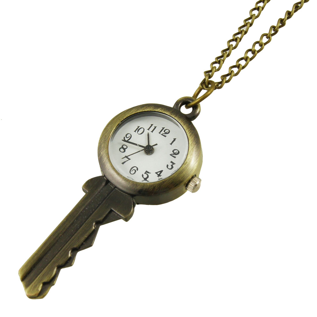 Bronze Tone Key Design Pendant Necklace Qaurtz Watch