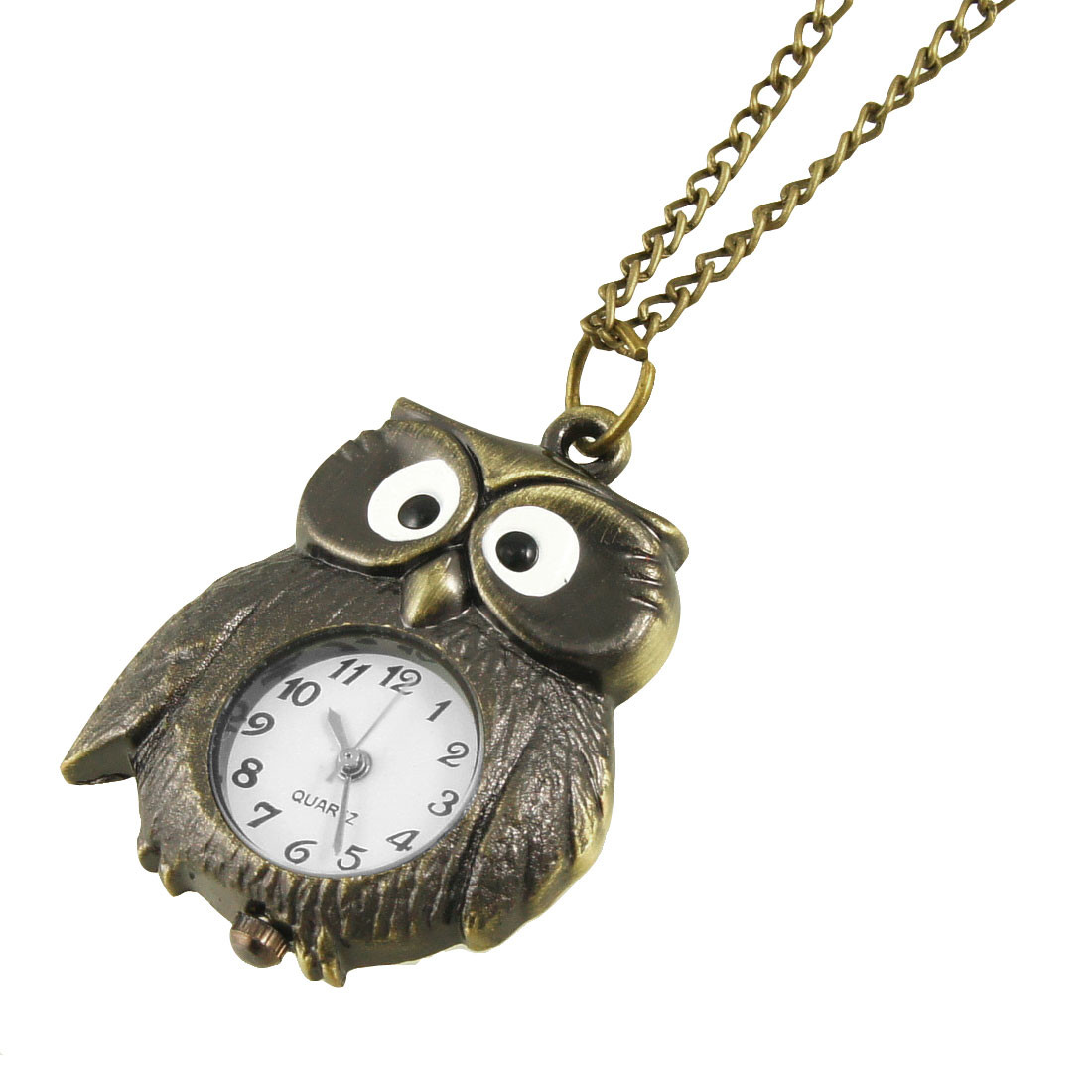 Metal Bronze Tone Night Owl Shaped Pendant Necklace Watch
