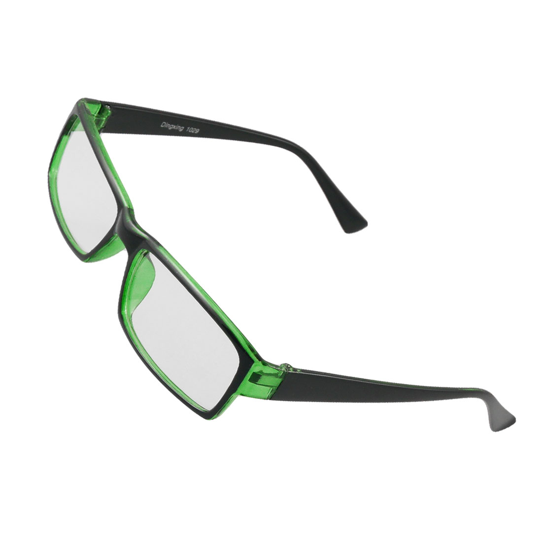 Men Women Clear Dark Green Full Rim Plastic Arms Plain Glasses