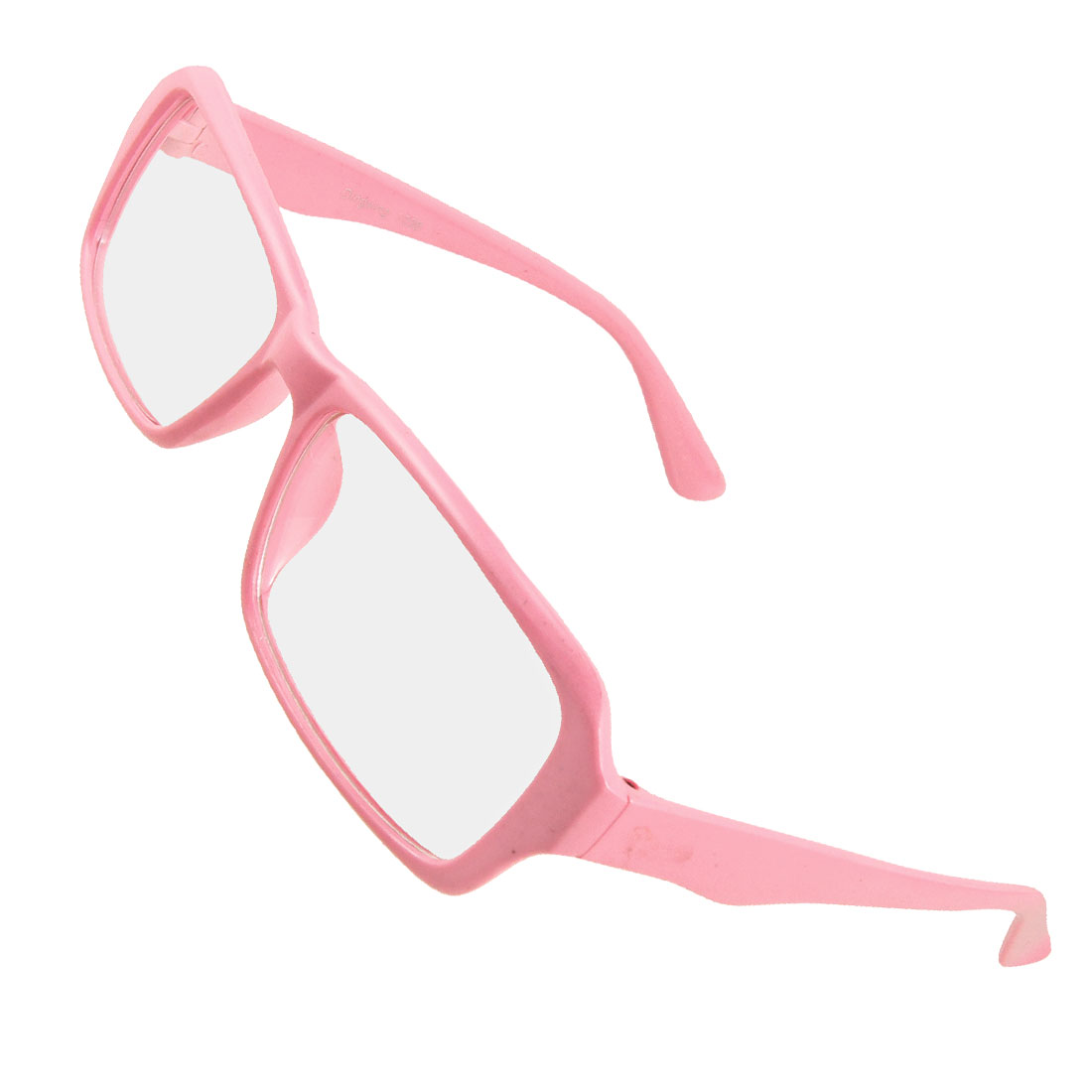 Women Plastic Frame Full Rims Clear Lens Plain Eyeglasses Pink