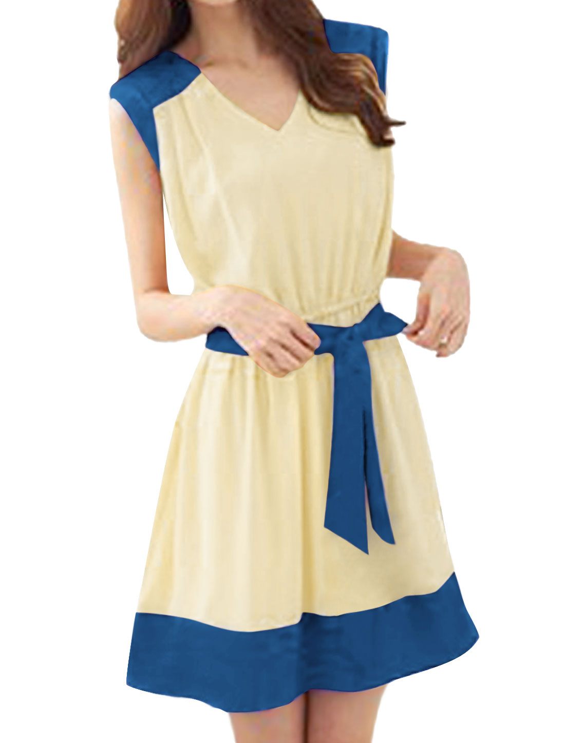 Ladies Sleeveless V Neck Panel Banded Dress Blue Beige S