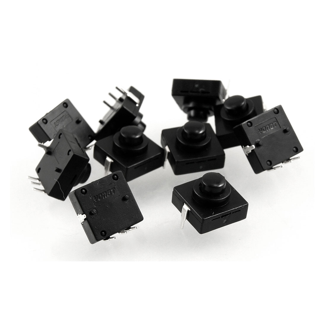 10 Pcs Vertical 4 Pin Latching Action Square Torch Push Button Switch Black