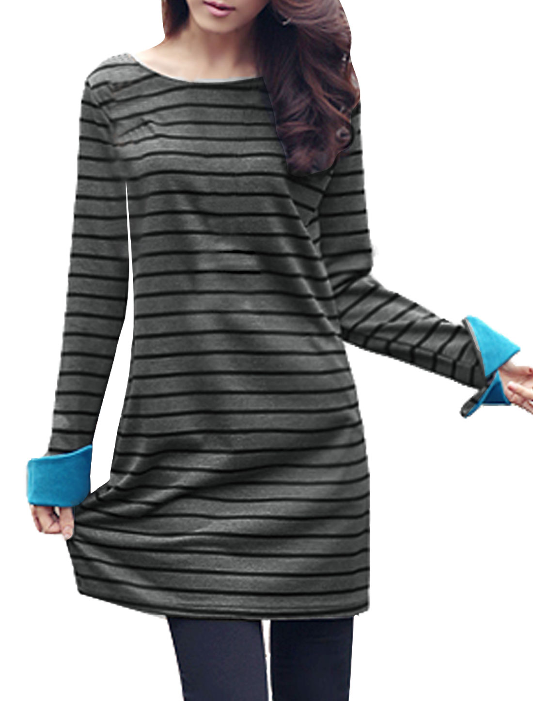 Lady Dark Gray Black Long Sleeve Stripes Stretchy Autumn Mini Dress XS