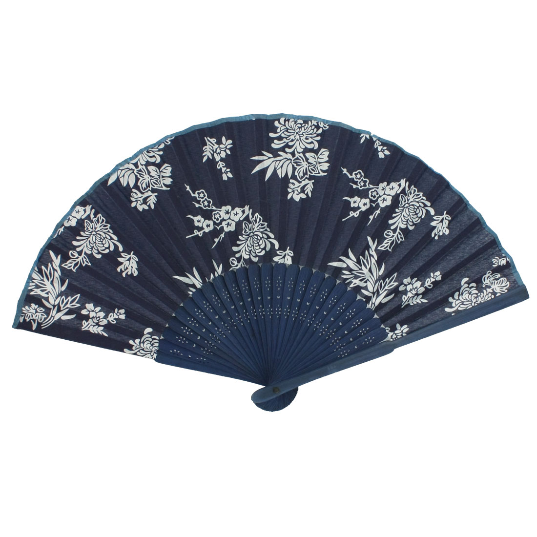 Foldable White Mum Printed Navy Blue Cloth Bamboo Frame Hand Fan