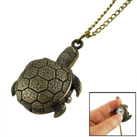 Bronze Tone Hunter Case Tortoise Pendant Quartz Necklace Watch