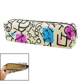 Beige Black Pink Letter Pattern Rectangular Pen Pencil Case Pouch Bag