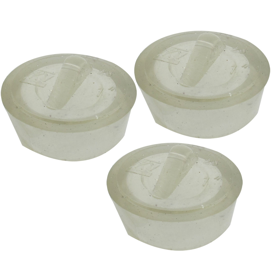 36mm Diameter Water Sink Strainer Clear Rubber Disposal Stopper 3 Pcs