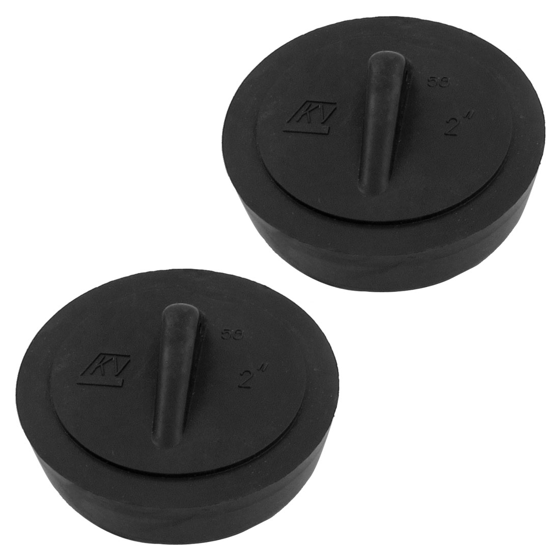 "2"" Diameter Water Sink Strainer Black Rubber Disposal Stopper 2 Pcs"