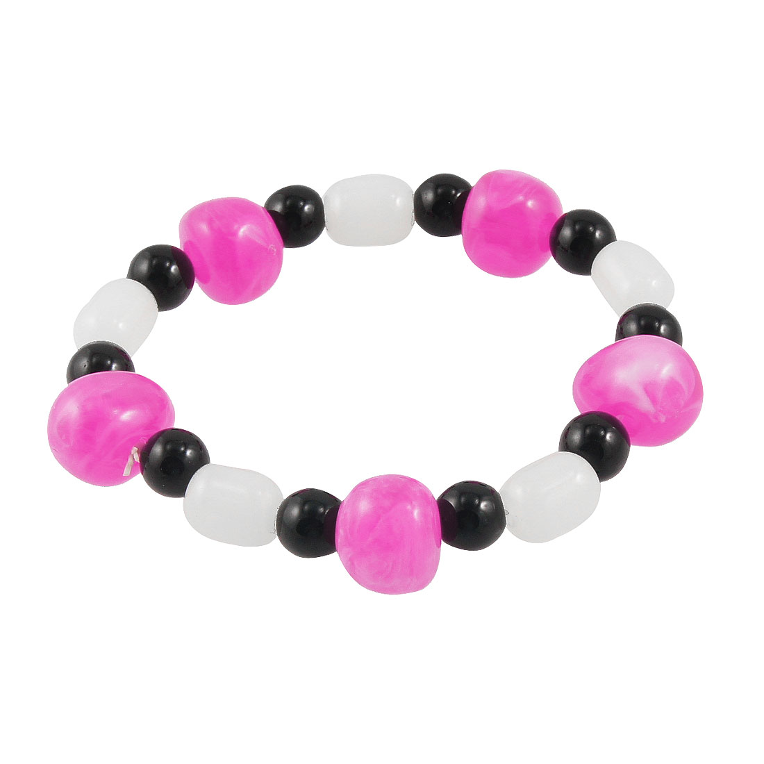 Faux Jade Amaranth Pink Beads Black Round Faux Pearls Elastic Bracelet for Lady
