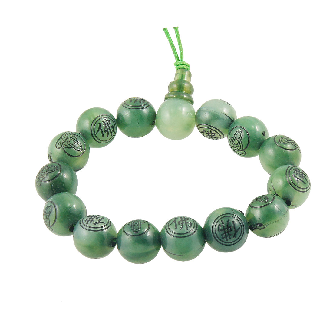 Buddha Character Print Green Round Beads Stretchy Bracelet for Ladies