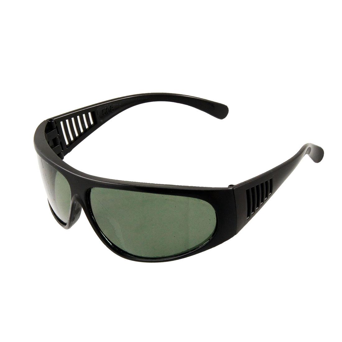 Black Plastic Oval Dark Green Lens Full Frame Sunglasses for Man