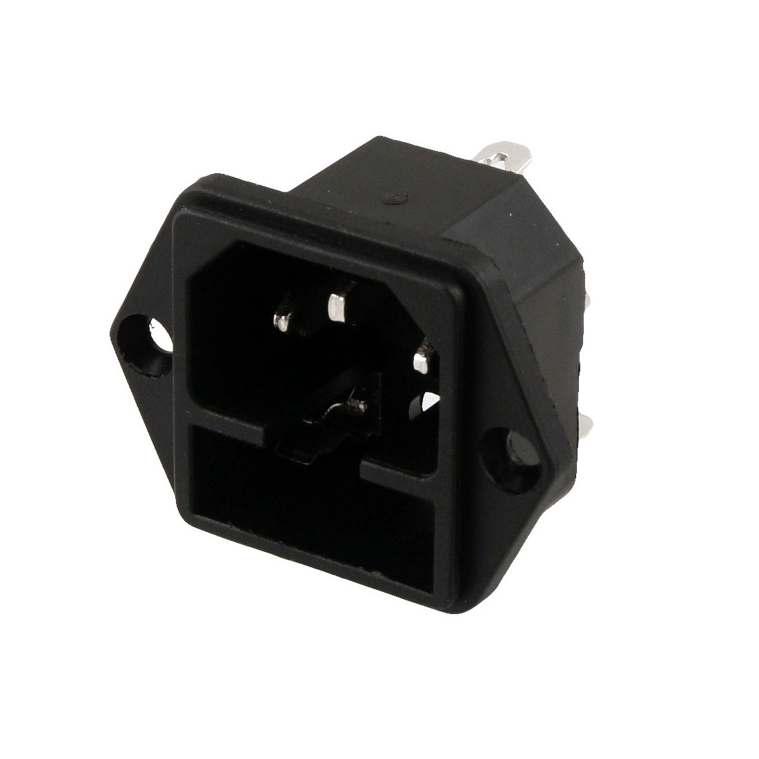 Black 3 Terminals IEC 320 C14 Inlet Male Power Conector Socket AC 250V 10A