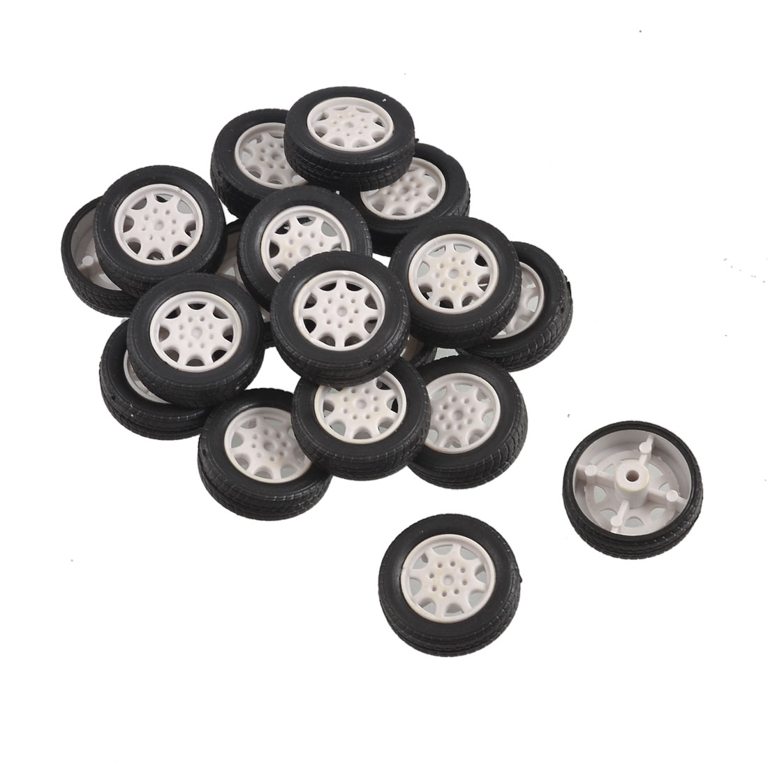 25mm Dia Rubber Roll Plastic Core Toy Car Truck Wheels 18 Pcs