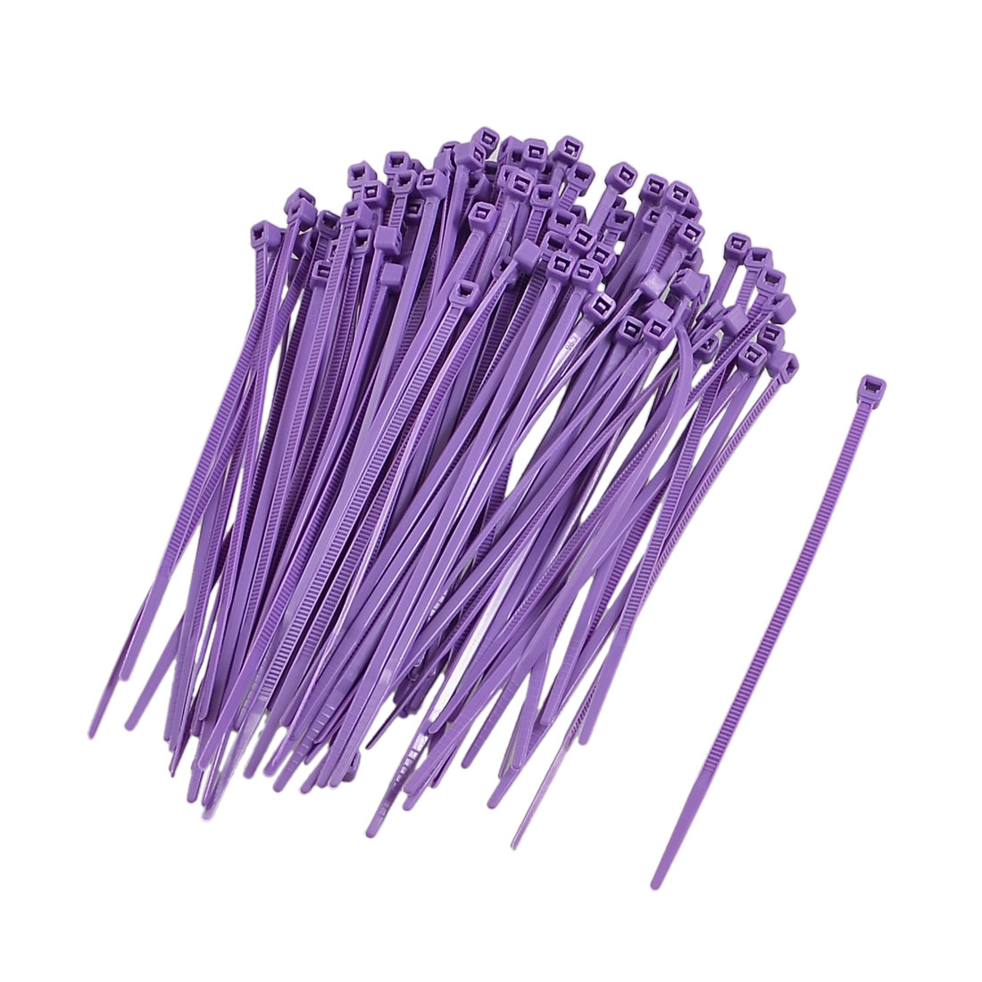 100 Pcs Self-locking Flexible Marker Label Cable Zip Ties Straps Purple