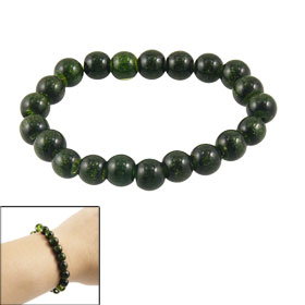 Dark Green Faux Pearl Round Beads Accent Elastic Wrist Bracelet for Lady
