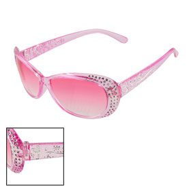 Lady Plastic Pink Oval Shape Clear Lens Full Frame Eyewearing Sunglasses