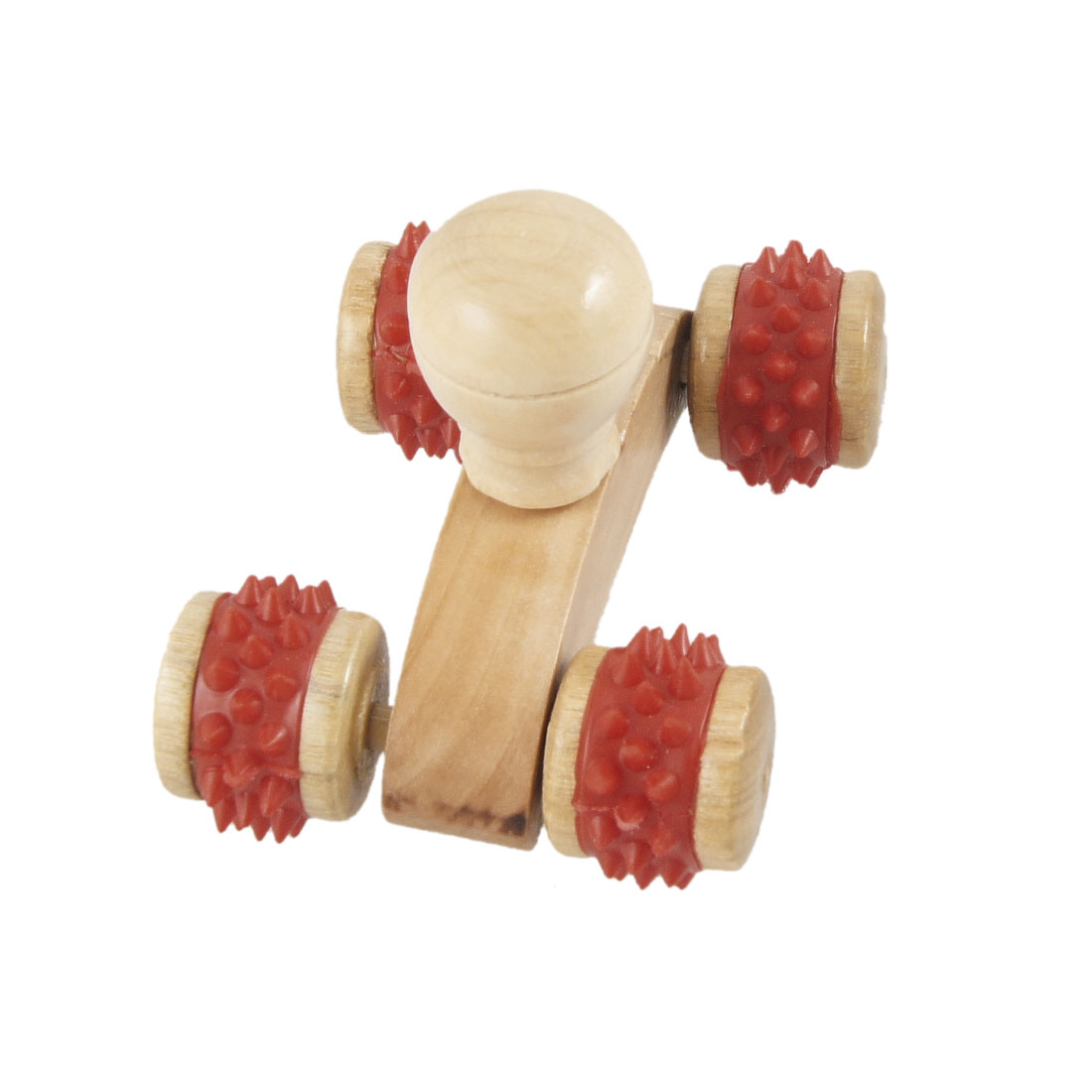 Wooden 4 Wheels Tri Colors Manual Back Body Massage Roller