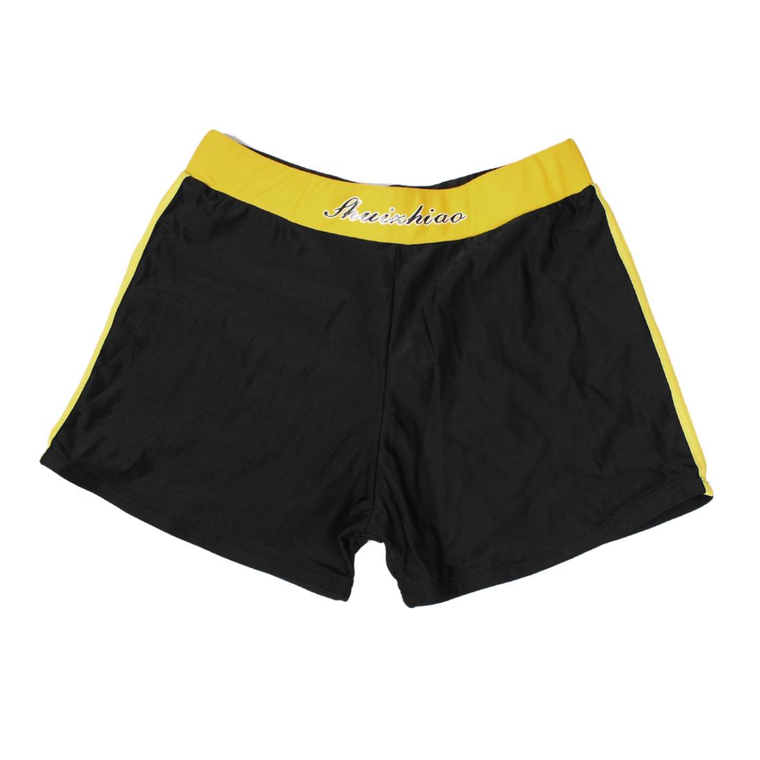 Children Boy Black Yellow Drawstring Elastic Waist Swim Pants Trunks US L