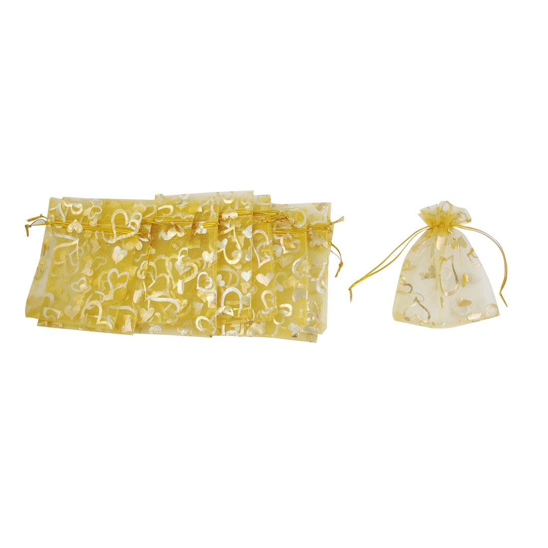 10 Pcs Yellow Hearts Pattern Wedding Christmas Gift Organza Pouch Bag Holder