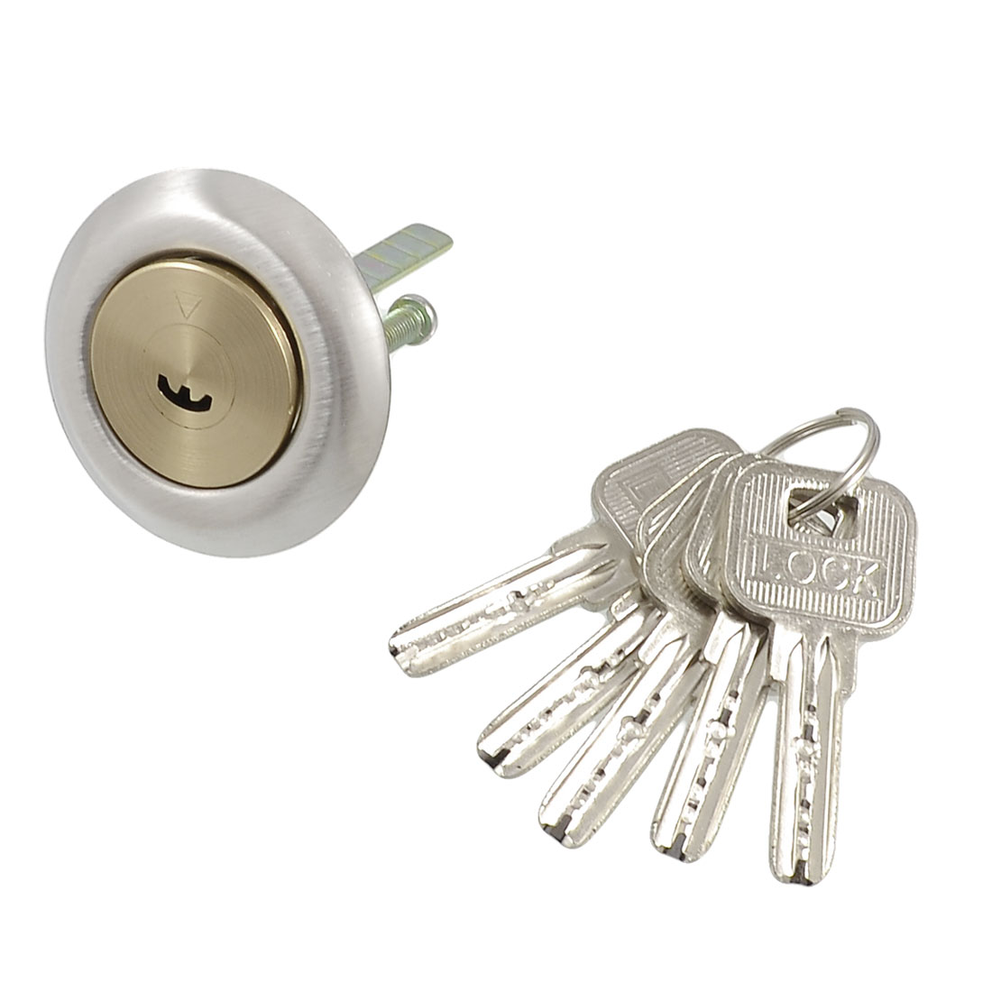 Brass Screw Crescent Keyway Security Lock Key Cylinder w 5 Metal Keys