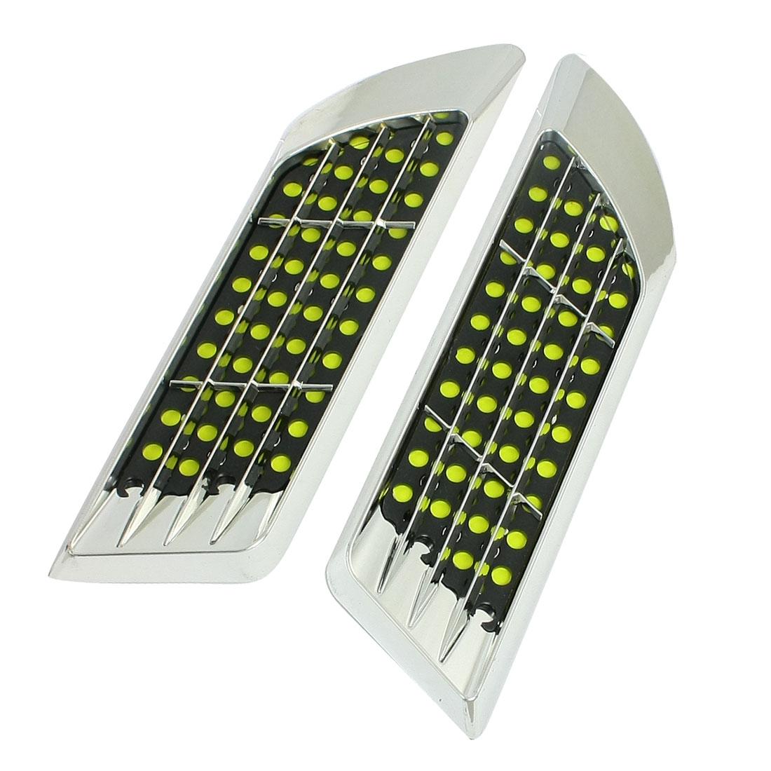 2 Pcs Auto Car Side Vent Plastic Air Flow Sticker Ornament Silver Tone Black