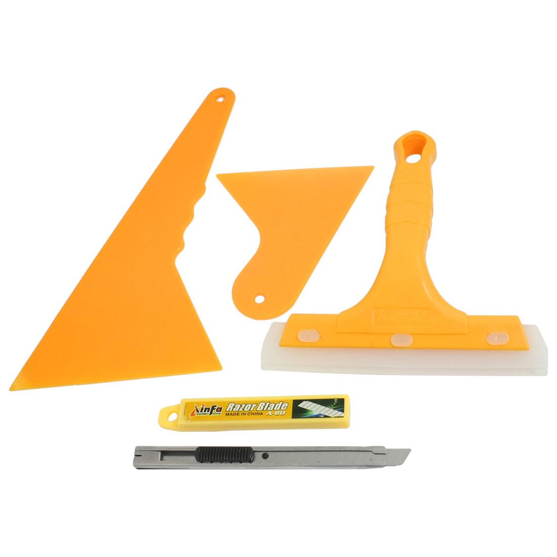 5 in 1 Orange Plastic Window Glass Wiper Blade Cutter Film Scraper Tools