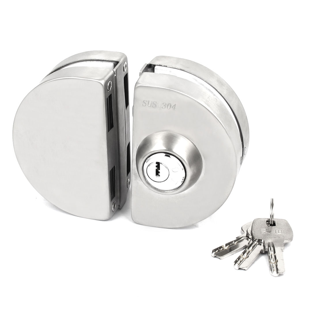 Silver Tone Alloy Double Bolt Push Sliding Door Lock w Keys for 12mm Glass Door