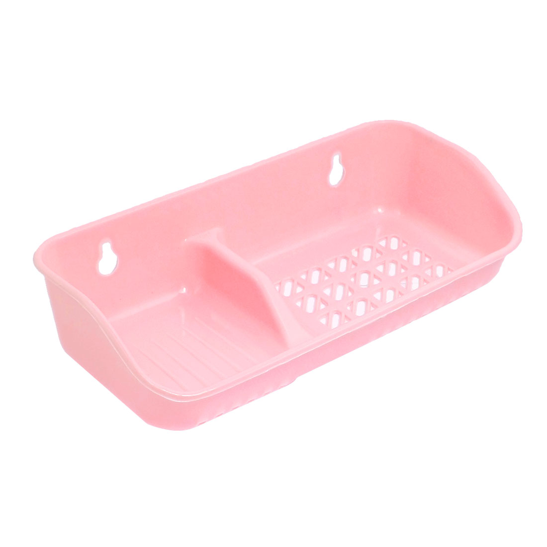 Pale Pink Plastic Wall Mount Soap Dish Holder w 2 Suction Cups