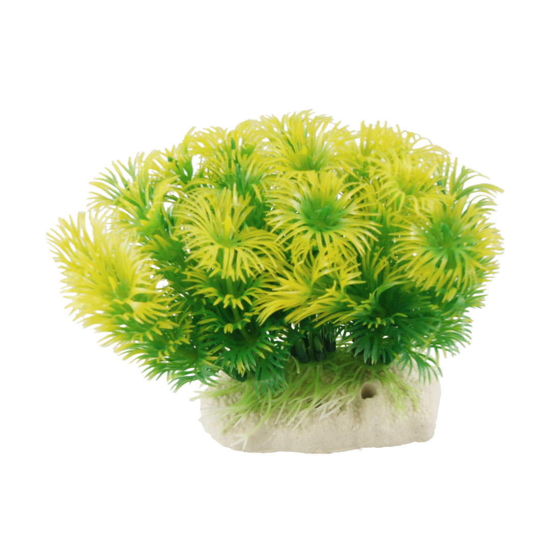 10cm Aquarium Fish Tank Simulated Green Yellow Plastic Plant Ornament
