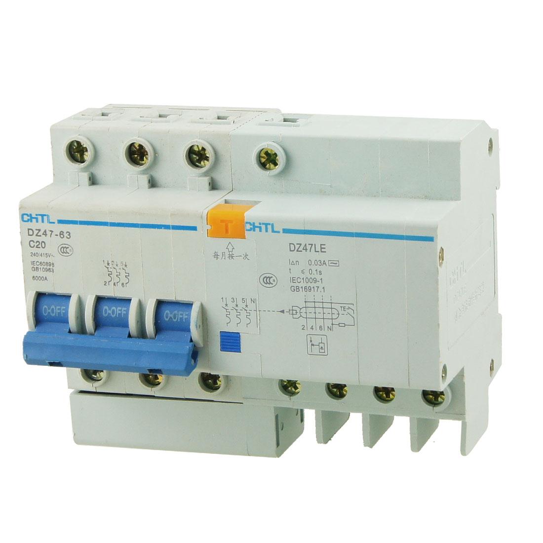 DZ47-63 3 Pole 20A Mini Circuit Breaker +DZ47LE Earth Leakage Circuit Breaker