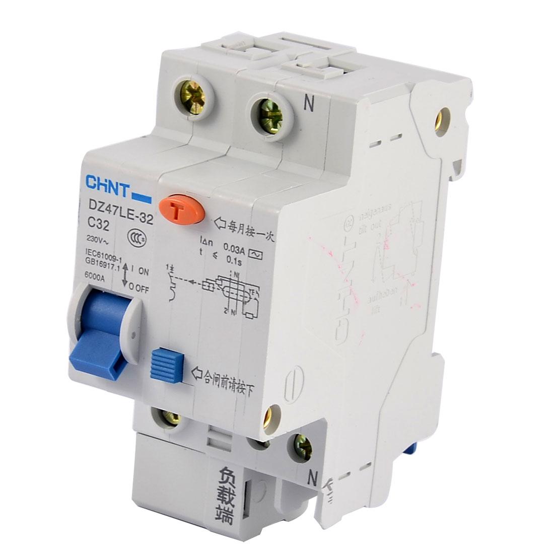DZ47LE C32 AC 230V 1P+N Miniature ELCB Earth Leakage Circuit Breaker