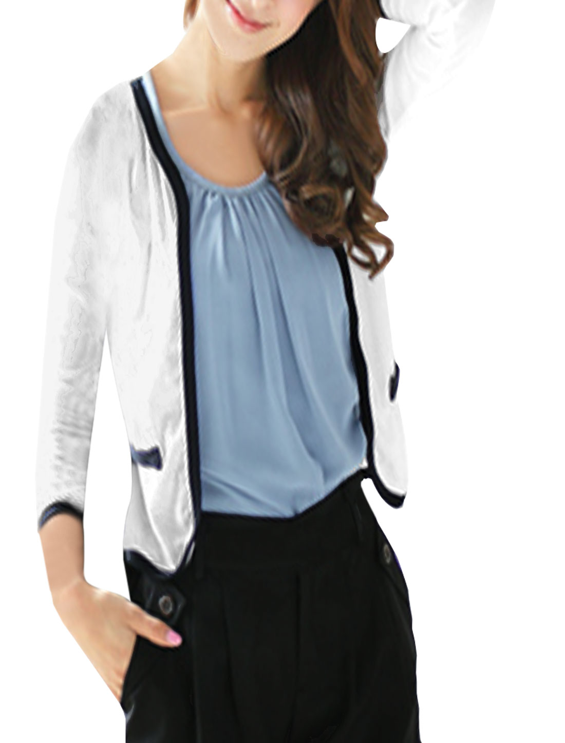 Woman Open Front Puff Sleeves Contrast Trim Slim Fit Blazer White XS