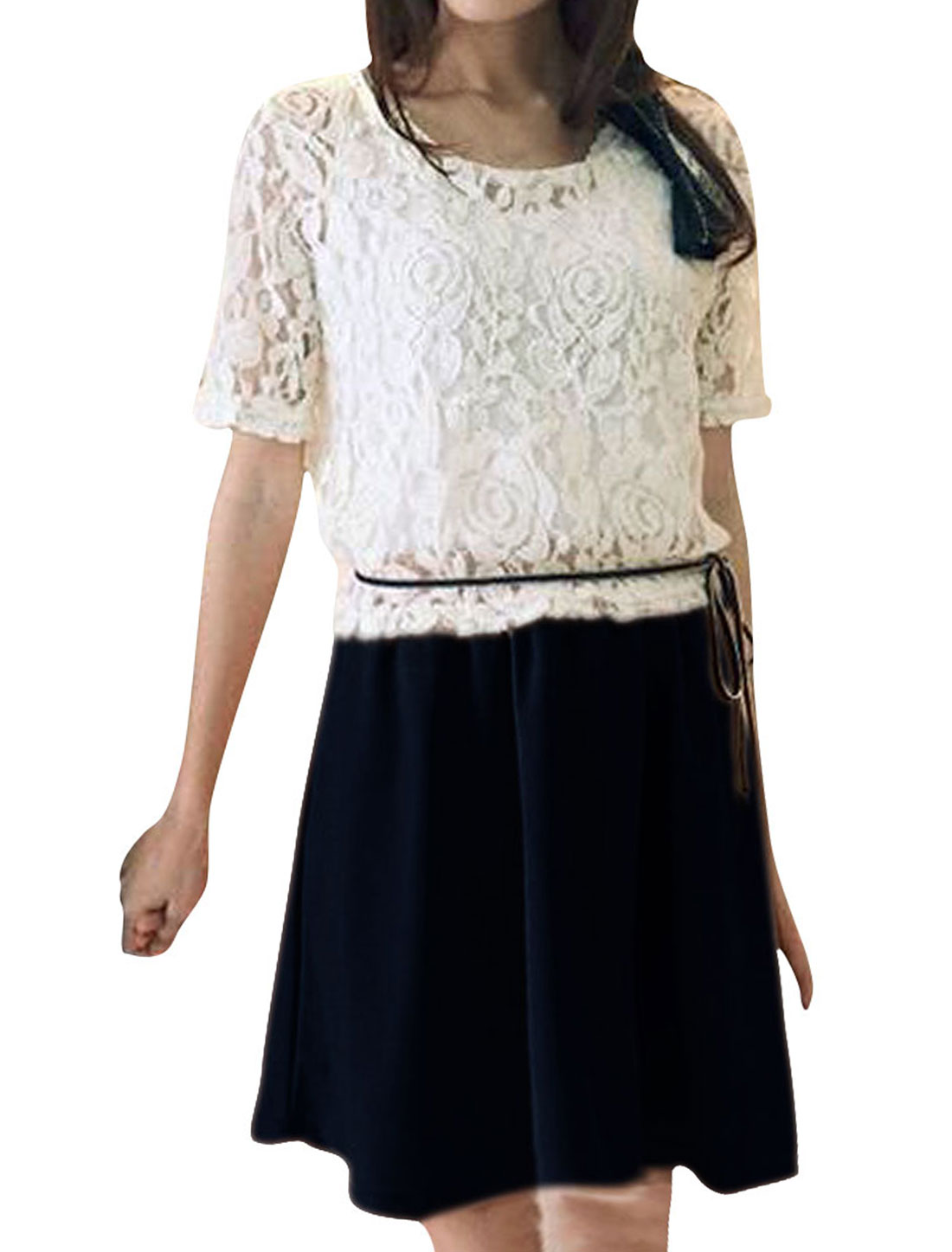 Ladies Two Piece Panel Dark Blue Dress With White Sheerness Lace Smock XS