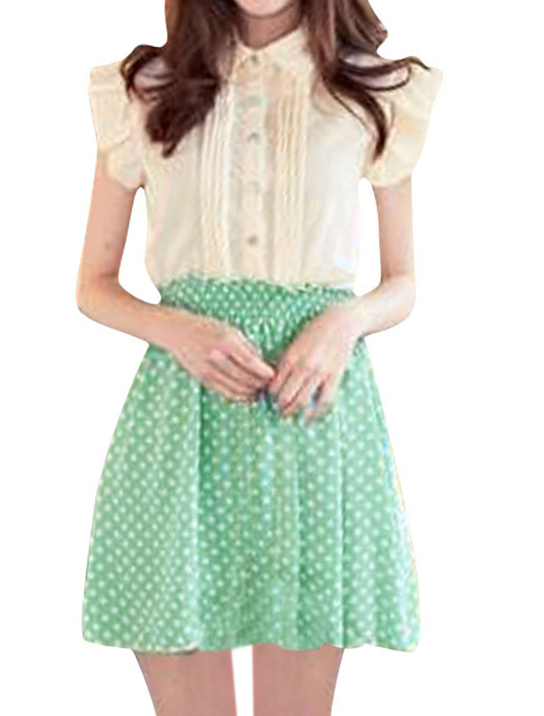 Ladies Point Collar Dots Printed Ruched Sleeve Light Green Chiffon Mini Dress XS