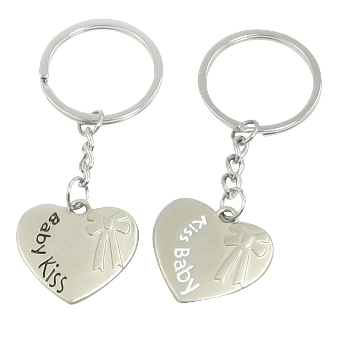 Pair Silver Tone Metal Bowtie Pattern Heart Shape Keychain for Lovers