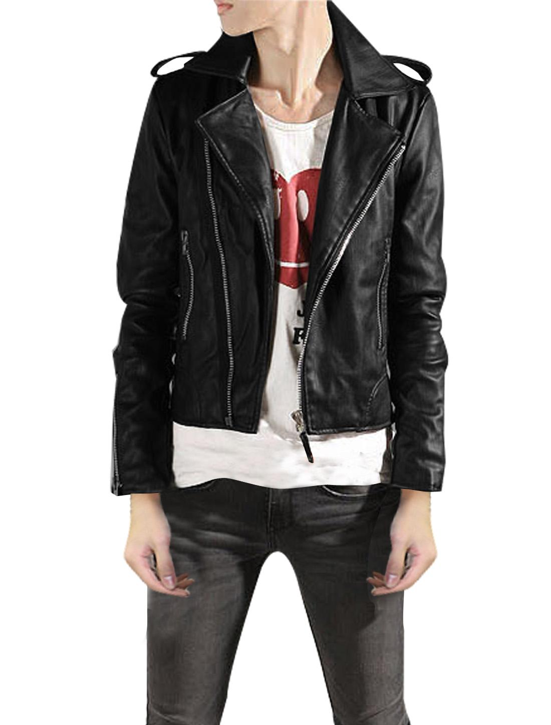 Mens Black Convertible Collar Long Sleeve Asymmetrical Zipper Front Casual Jacket M