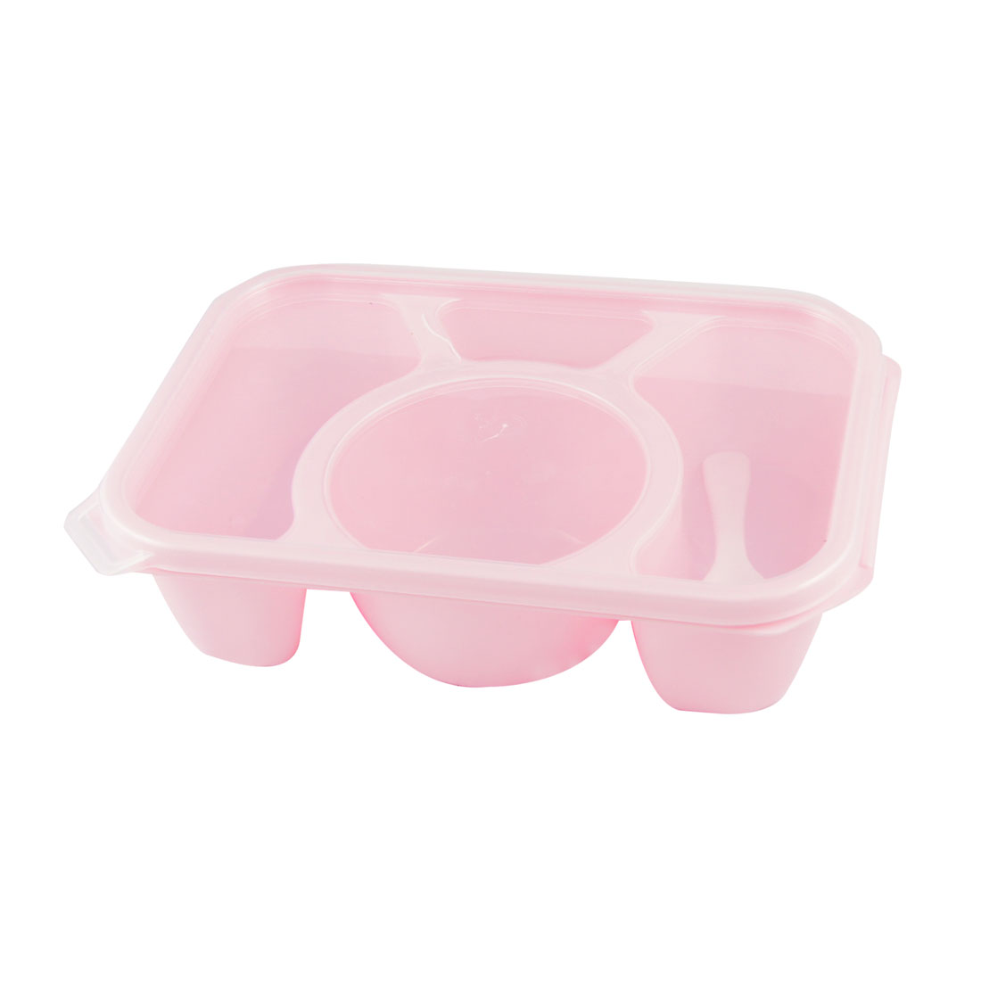 Plastic 4 Compartments Meal Lunch Box Pink Clear w Spoon