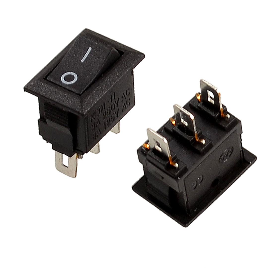 2 Pcs 3 Pin SPDT Black Button On/On Rocker Switch AC 250V/3A 125V/6A