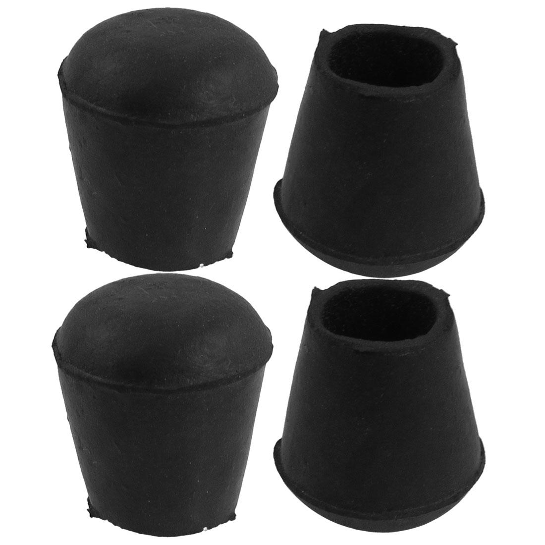 2.1cm Inner Dia Nonslip Bottom Rubber Round Table Chair Foot Cover Holder 4 Pcs