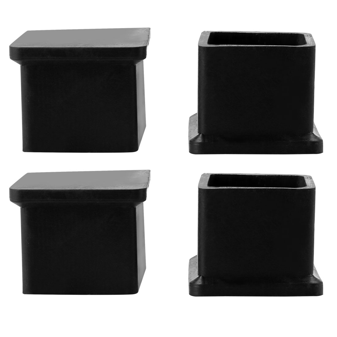 4 Pcs Square Black Rubber Foot Covers 19mm x 19mm for Home Chair