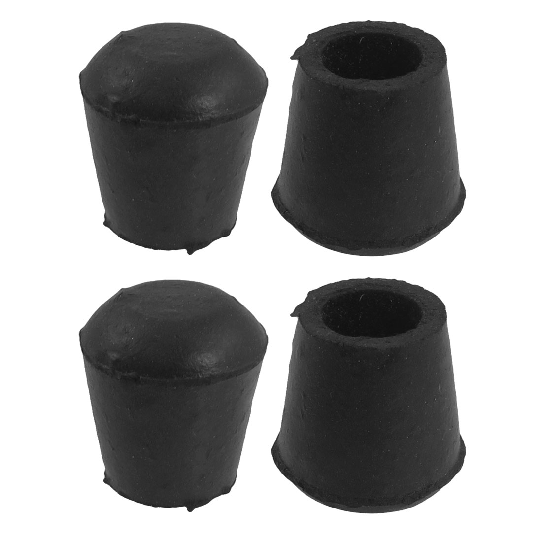 1.1cm Inner Dia Black Rubber Cone Shaped Table Chair Foot Cover Holder 4 Pcs