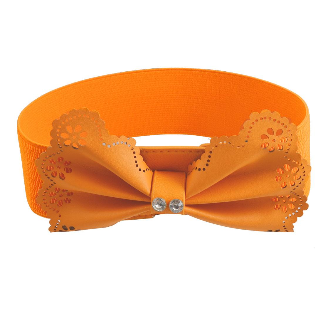 Lady Rhinestone Bowtie Decor Press Stud Button Waist Belt Waistband Orange Red
