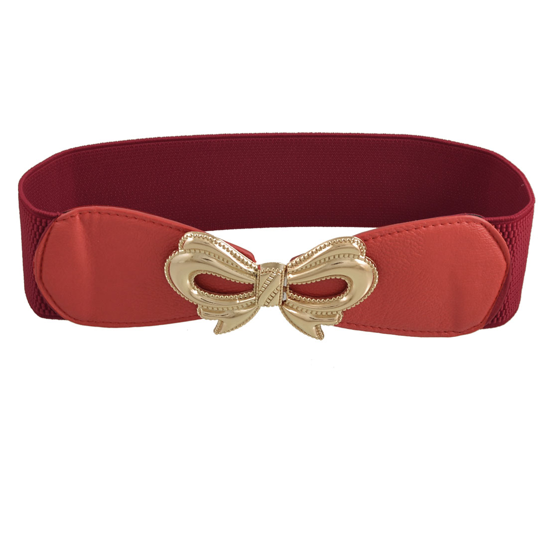 Bowknot Hook Buckle Red Textured Stretchy Waist Belt Band for Ladies